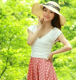 Wholesale Summer Hot Straw Hats - 2016 Hot Sale Fashion Straw Beach Hats Lady Straw Hats Women's Caps Fashion Wide Brim Hats 12 Colors Available Mix Colors