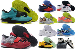 Wholesale Men Kd Shoe Cheap - High Quality Kevin Durant KD 7 Men Basketball Shoes Mens KD7 Air Sports Shoes Cheap KD 7s Outdoor Sneakers Training Shoes 4-5-6-10-11-12-13