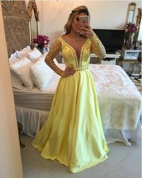 Wholesale Water Melo - 2017 Barbara Melo Yellow Long Sleeves Satin Prom Dresses Deep Open V-Neck with beaded detail and Sexy Back Prom Dresses