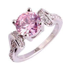 wholesale pink topaz jewelry Coupons - Wholesale Fashion 925 Pink Topaz Gems Silver Ring Size 6 7 8 9 10 11 Women Party Jewelry Free Shipping