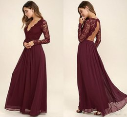 Wholesale Western White Lace Tops - 2017 Burgundy Chiffon Bridesmaid Dresses Long Sleeves Western Country Style V-Neck Backless Long Beach Lace Top Wedding Party Dresses Cheap