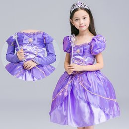 Wholesale Tulle Puff Skirt - Girls Halloween Party Cosplay Costume Tulle Princess Dress Flower Lace Bowknot Cotton Puff Sleeve Purple Skirts
