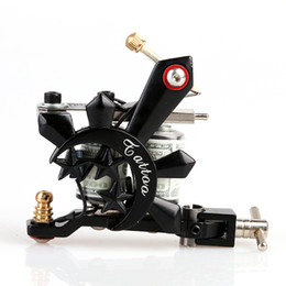 Wholesale Crystal Cast - New Design Handmade Black Crystal Shader Tattoo Gun 10 Wrap Coils Tattoo Machine for Art Supply Kits TM8395