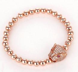 Wholesale Round Copper Braid - Leopard Braided Macrame Bracelet Micro Pave CZ Zirconia Charm Bracelets 4mm Round Brass Beads Gift for Men's Women