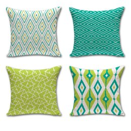 Wholesale Modern Green Pillow - Modern Minimalist Green Diamond Stripe Geometric Cotton Linen Decorative Throw Pillow Case Cushion Cover Square 45*45 Cm 240479