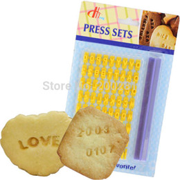 Wholesale Cookie Stamps Letters - Cake Alphabet Numbler Cookies Biscuit Letter Stamp Embosser Fondant Cake Decorating Mold Braking Cutter Kitchen Tool Baking Tool