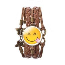 Wholesale Leather Smiley - 2016 New emoji smiley face charm Time gemstone bracelet hand-woven butterfly Pendant Christmas gift for women