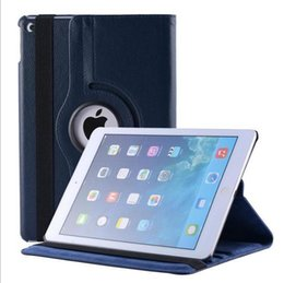 Wholesale Wholesale Ipad Neoprene Case - DHL 20PCS 360 Rotation Protective Lichi PU Leather Case cover PC Cover Stand for iPad 6 iPad Air 2 TB9