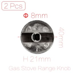 Wholesale Kitchen Gas Cookers - Wholesale-2 Pcs lot 8mm Hole Inner Diameter Kitchen Ware Metal Gas Stove Oven Cooker Range Knob Switch Silver Tone
