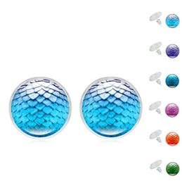 Uova di gemma online-New Silver Plated Mermaid scala di pesci colorati Dragon Egg Scales Time Gemstone Orecchini per le donne Lady Jewelry