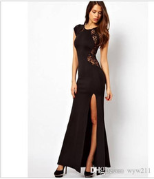 Wholesale Dress Maxi Runway - 2016 New Fashion Dress Behind Open Fork Dress Lace Dresses Maxi Evening Party Dress Lace Slit Sexy Nightclub Long Bodycon Dress059
