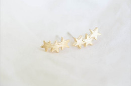 Wholesale male jewellery - 2016 new fashion jewellery wholesale three-star male to female adolescents stud earrings earrings cutest celebrity women holiday best gift