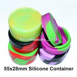 Wholesale oil free foods - DHL Free Luminous Mixed Colors Nonsolid 55x28mm Silicone container food grade jars dab tool storage jar oil holder for vape FDA approved