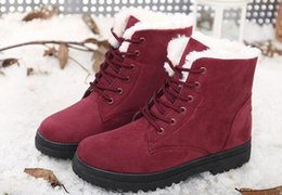 Wholesale Large Size Chunky Heel - 2017 new snow boots women boots with the Korean version of Martin boots winter cotton women's cotton shoes large size EU:35-44
