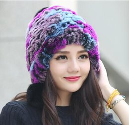 Wholesale Earflap Beanie Women - Wholesale-Women Fur Caps Winter Thick Girl Real Rex Rabbit Fur Knitted Earflap Hats With Real Fox Fur Pom Poms Winter Ear Cap MS-8