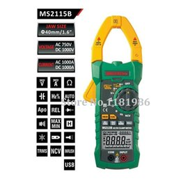 Wholesale Digital Ac Dc Voltage - Wholesale-MASTECH MS2115B True RMS Digital Clamp Meter Multimeter DC AC Voltage Current Ohm Capacitance Frequency Tester with USB