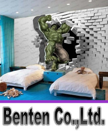 Wholesale 3d Wall Paintings Home - 3D Avengers Photo Wallpaper Custom Hulk Wallpaper Unique Design Bricks Wall Mural Art Room Decor Painting Wall art Kid's room Bedroom Home