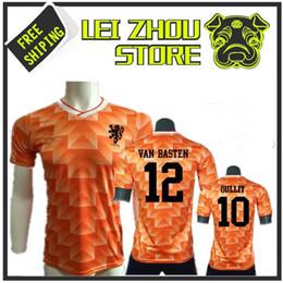 Camisa de futebol laranja on-line-1988 Versão Retro Laranja Clássico Do Vintage Holandês casa camisa de Futebol melhor qualidade Três Mosqueteiros Gulitefan Basten camisa de futebol