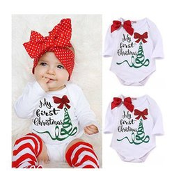 Wholesale Warm Rompers - 2016 Christmas baby clothing baby rompers + leg warmer set Cute girl polka dot Bow letter my first christmas tree 2PCS SET autumn