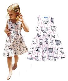 Wholesale Dress Cat For Girls - 2016 Summer INS Mini Rodini Girls Cotton Dress Full Cat Printed Baby Girl Dress Pink Polka Dot Party Dresses For Girls Clothing