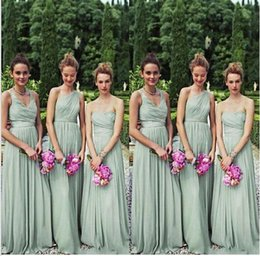 Wholesale Cheap One Shoulder Wedding Dresses - Cheap Long Bridesmaid Dresses V Neck One Shoulder Chiffon Sage Maid of Honor Plus Size Beach Bridal Dress Wedding Party Gowns 2016