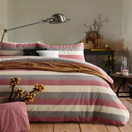 Wholesale Grey Bedding Set Duvet Cover - Home textile 100%High Quality Cotton knitting pink grey and yellow stripe 4 piece bedding sets queen size king size duvet cover pillowcase