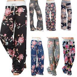 Wholesale Womens Plus Wide Leg Pants - 50pcs 7 designs ladies floral yoga palazzo trousers womens wummer wide leg pants plus size M100