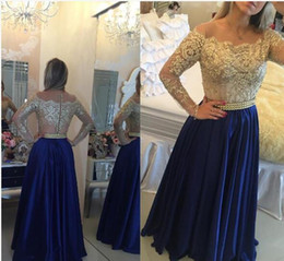 Wholesale Close Image - 2017 Long Sleeves Satin A-Line Prom Dresses Gold Lace applique Bateau neckline bodice and Button Back Close Gowns