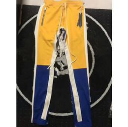 Wholesale Fur Faux - 2018 NEW justin bieber Yellow blue red white stripes splice men pants hip hop Fashion FOG pocket Side zipper jogger pants 3Color