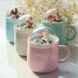 Wholesale Micro Cup - Cartoon Forest Micro Landscape Ceramic Milk Coffee Mug 400ML Home Office Breakfast Drink Tea Cups Water Cups OOA3381
