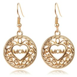 Wholesale Cute Lettering - brincos gold plated alloy cute girl Lettering Mom earring Hollow out Heart drop earrings Carving round Dangle earrings Mother gift 2017 e292