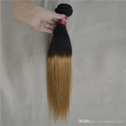 "Wholesale Hair Extensions Blonde One Piece - One piece of blonde brazilian remy hair extension straight two tone hair weave 1b 27 black women ombre straight hair 10""-26"" 3,4,5pcs lot"