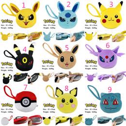 Wholesale Cotton Wallet Style - 9 Styles Poke pokémon go wallet bags kids poke Purse Children cartoon Poke Ball Pikachu Jeni turtle Sylveon Keychain wallet Purse