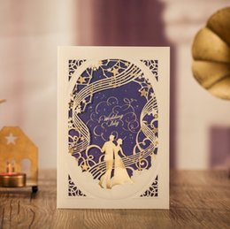 Wholesale Blue Wedding Cards Design - WISHMADE 2017 Unique Hollow Navy Blue Design Groom & Bride Laser Cut Invitations Cards Customized Printing CW7030