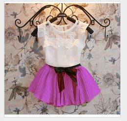 Wholesale Girls Woolen Suits - 7 Colors 2016 Summer Girls Clothing Sets White Lace Sleeveless Vest Tops+Tutu Skirt 2pcs Kids Outfits Baby Girl Suit Cute Girl Clothes