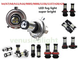 Wholesale H16 Led Light - 80W H4 h7 h11 h16 9005 9006 1156 1157 t20 t25 Fog Light led DC12V-24V White OSRAM SMD 16 Leds Car Fog Light