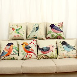 Wholesale Bird Cushions - Beauty Animal Birds pattern Decorative throw Pillow Case Linen Cotton Cushion Cover Creative Decoration for Sofa Car covers BY DHL 240616
