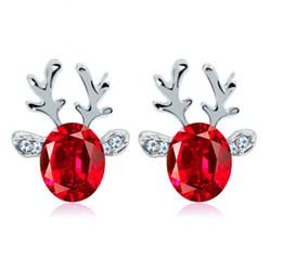 Wholesale crystal reindeer - New fashion Christmas earrings Stud blue pink Crystal Rhinestone jewel antler earrings Three - dimensional Christmas reindeer studs