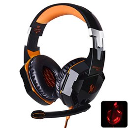 Wholesale Earphones Headphone Usb Computer - Gaming Headphones Stereo Noise Cancelling Headsets Studio Headband Microphone Earphones With Light For Computer PC Gamer EACH G2000