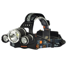 Wholesale Led Lamps For Sales - hot sale 5000Lm CREE XML T6+2R5 LED Headlight Headlamp Head Lamp Light 4-mode torch +EU US charger for fishing Lights