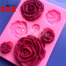 Wholesale Silicone Mould Resin - Rose Flower Silicone Mold for Fondant Cake Decorating Chocolate Cookie Soap Fimo Polymer Clay Resin