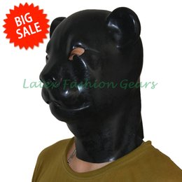 Wholesale Hood Fetish - Wholesale-Free shipping ! Black 3D Moulded Latex Fetish Hood Leopard Style Latex Mask Hot Selling