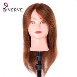 capelli alti Sconti Testa di addestramento dei capelli umani veri per salone di parrucchiere. Bambole di manichino 46cm possono essere arricciati testa di styling professionale con supporto