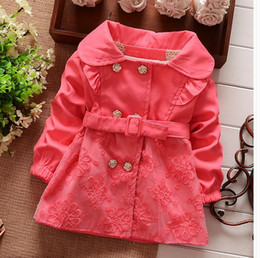 Wholesale Girls Autumn Button Jacket - Hot Autumn Children Korean Clothing Girl's Cotton Collar Wind Coat Jacket Flower Button Lace Outwear Pink Girl Clothes B1