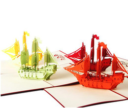 Wholesale Christmas Sail - Creative Sailing Ship 3D Hollow Out Kids Birthday Gift Invatation Card Pop Up Card Greeting Card Souvenirs Party Supplies DHL free ship
