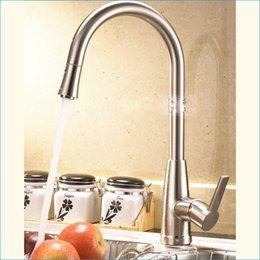Wholesale Chrome Pull Out Kitchen Tap - pull out spray kitchen faucet,single holder single hole brushed kitchen faucet,Hot and cold mixer tap,Free Shipping J14818