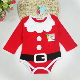 Wholesale Baby Boy Winter Romper Outfits - 2016 Autumn Winter Unisex Newborn kids christmas long sleeve romper infant Baby Boys Girls Christmas Romper Playsuit Outfits free shipping