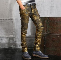 Wholesale Old Jeans - 2017 new Men's foreign trade gold light blue  black jeans pants motorcycle biker men washing to do the old fold Trousers Casual Runway Denim