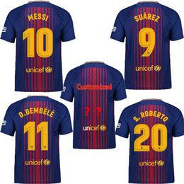 Wholesale Name Brand Shorts - Free Shipping 2017-18 MESSI Brand FC Home Soccer Jersey,Name Numbers Soccer Set ,Customized Soccer Top Quality, Quick Dry Football Uniforms