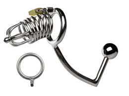 Wholesale Sex Catheter Anal - Newest Male Stainless Steel adjustable Anal plug Butt beads Cock Penis Cage With Catheter Chastity belt Device BDSM Sex toys